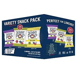 SkinnyPop Popcorn Variety Snack Pack, 0.5/.8oz Bags,36ct