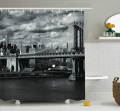 - Ambesonne New York Shower Curtain, Black and White Panorama of New York City Skyline with Focus on Manhattan Bridge Photo, Fabric Bathroom Decor Set with Hooks, 70 Inches, Grey