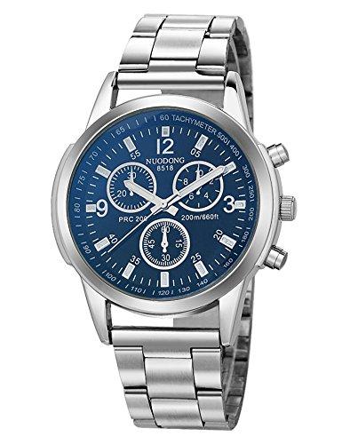 LoveUnder20 Men Fashion Waterproof Quartz Watch Stainless Steel Band Round Analog Wrist Watch Bracelet