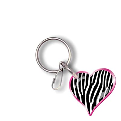Plasticolor 004247R01 Zebra Heart with Pink Key Chain: Automotive