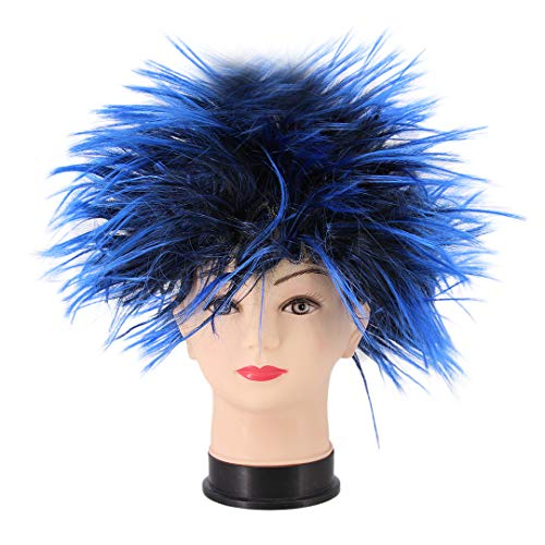 Novia's Choice Unisex Funky Spiky Wigs Crazy Halloween Costumes Cosplay Wig Accessory(Blue&Black) -