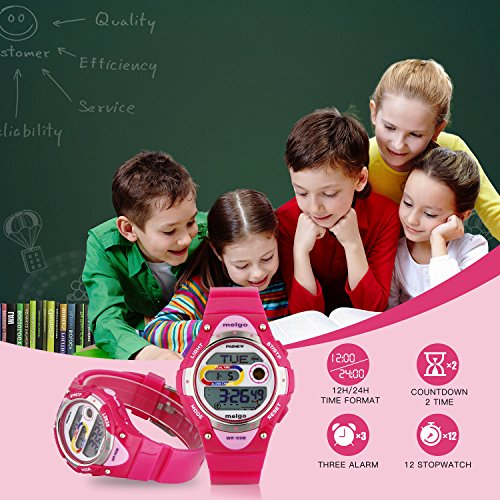 Jewtme Pasnew LED Waterproof 100m Sports Digital Watch for Children Girls Boys (Pink) by PASNEW (Image #3)