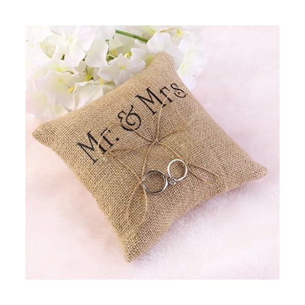Mr and Mrs Burlap Wedding Ring Bearer Pillow – Pillow Land