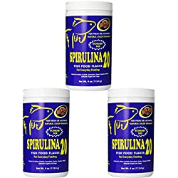 Zoo Med Spirulina 20 Flake Fish Food, 4-Ounce (3 Pack)
