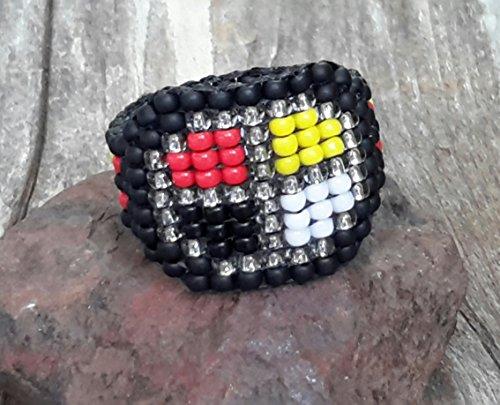 Hand-sewn Native American Medicine Wheel Seed Bead Tapered Band Ring Nickel Free Custom Orders