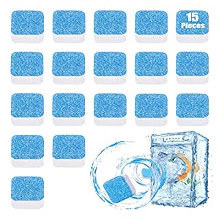 Solid Washing Machine Cleaner, Effervescent Tablet Washer Cleaner, High Efficiency Washer Decontamination Cleaning Detergent, Deep Cleaning Remover for Bath Room Kitchen (15 Pack)