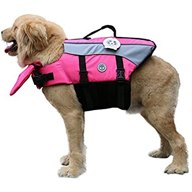 Vivaglory Dog Life Jacket Dog Lifesaver Vest Pet Reflective Life Preserver, Medium, Pink