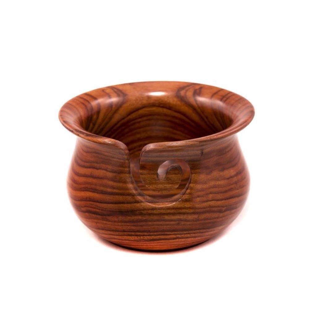 Nagina International Kitchen Pot Styled Premium Wood Crafted Portable Yarn Storage Knitting Bowl (Large, Rose Wood) by Nagina International (Image #1)