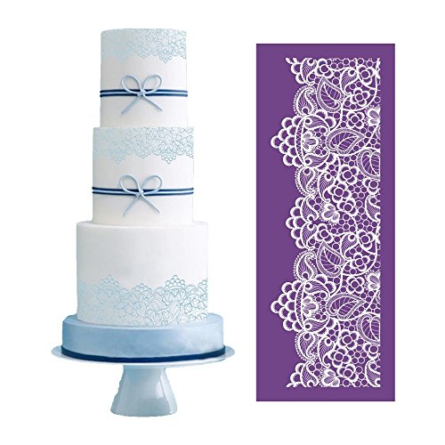"ART Kitchenware 19.3""×7.5"" Large Alencon Lace Floral Mesh Stencil Rose Flower Cake Stencil Wedding Cake Side Stencils Template Mold Cake Decorating Bakery Tool MST-05 Purple Color"