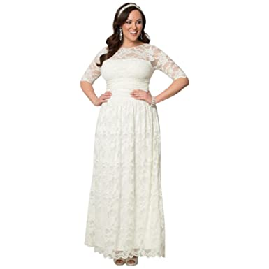 Davids Bridal Lace Illusion Plus Size Wedding Gown Style 14130904