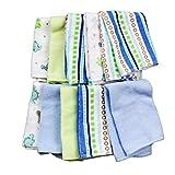 Spasilk Washcloths, Blue Stripes, 10 Count