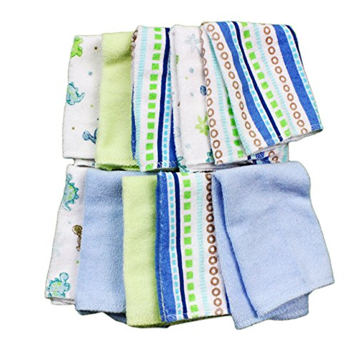 Large Product Image of Spasilk Washcloths, Blue Stripes, 10 Count