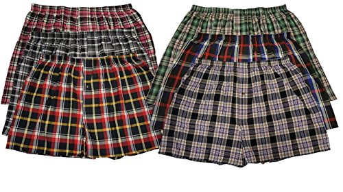 Men's True Big and Tall USA Classic Design Plaid Woven Boxer Shorts Underwear ( 6 Pack ) (5XL, Assorted)