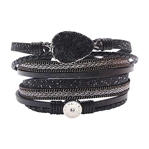 Calmson Womens Leather Cuff Bracelet Charm Multi-Strand Rope Braided Wrap Bracelets Casual Bangle Handmade Jewelry Magnet Buckle for Women Teen Girl Gift ()