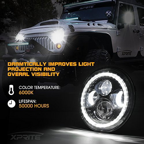 with Daytime Running Light DRL DOT Approved Round Hi//Lo Beam Headlamp Xprite 7 Inch 75W CREE LED Headlights for Jeep Wrangler JK TJ LJ 1997-2018