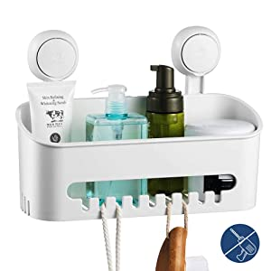 ilikable Vacuum Shower Caddy Suction Cup No-Drilling Removable Bathroom Wall Shelf Shower Organizer Basket Storage for Shampoo Conditioner Razors Soap - White
