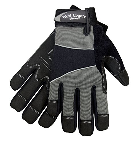 West County Gardener 013C/L Men's Work Glove, Large, Charcoal