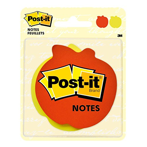 Post-it Super Sticky Notes, 3 in. x 3 in., Apple Shape (7350-APL)