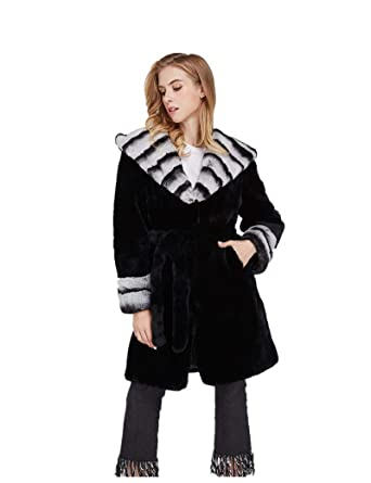 0e2bd76b726 Image Unavailable. Image not available for. Color  LVCOMEFF Women Rex  Rabbit Fur Long Coat with Chinchilla Collar Winter Warm 2018 Plus Size  1807017