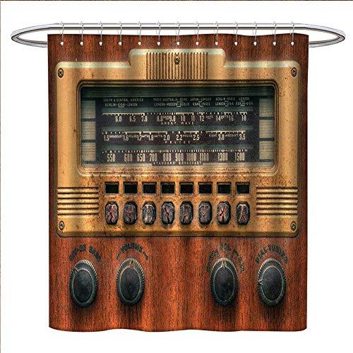 Vintage Shower Curtains Waterproof Retro Antique Ancient Radio Music Player Enjoyment Holiday Theme Artwork Print Bathroom Decor Sets with Hooks W69 x L75 Brown Ecru -