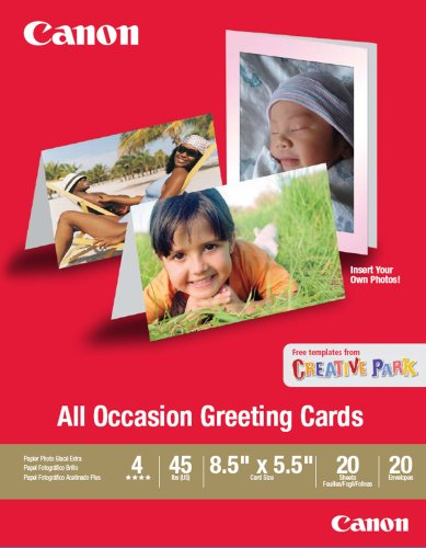 Canon All Occasion Greeting Card, 8.5 x 5.5 inches, 20 Sheets & Envelopes - Canon Heavyweight Inkjet Paper