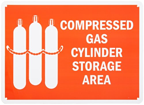 SmartSign Aluminum Sign, Legend Compressed Gas Cylinder Storage Area with Graphic, 10