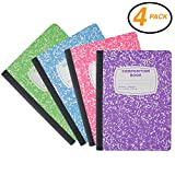 Emraw Neon Color Cover Composition Book with 100 Sheets of wide ruled white paper (4 Pack) Neon Purple