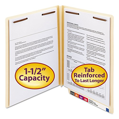 Smead 34276 W-Fold End Tab Expansion Folders - 2-Fasteners - Letter - Manila 50 Box