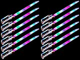 AJ Toys & Games 12 PCS Space Knight Flashing LED & Clanging Sounds Party Favor Toy Light Up Sword Sabers (Colors May Vary)