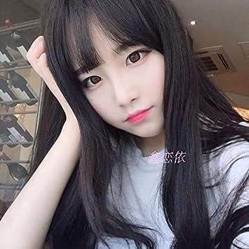 Amazon Com Korean Women Long Hair Wig Sign Thin Air Bangs Long