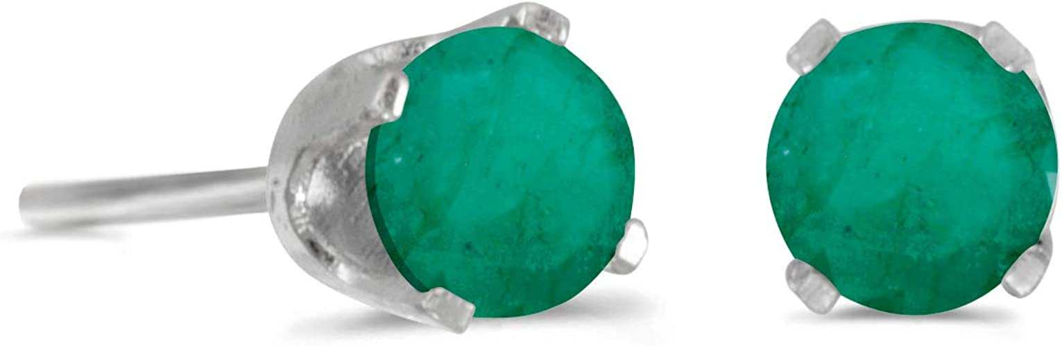 925 Silber Ohrstecker Ohrringe Smaragd 0,8 g// Ø 0,4 cm