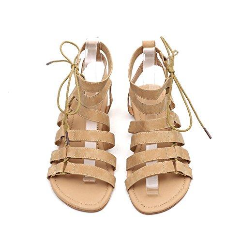 de Sandales Romaine Khaki Femmes Nouvelle Chaussures de Sandales Ronde Confortable la xie Taille Grande Plate Les Taille Sandales Tête Confortable ZpwEq6