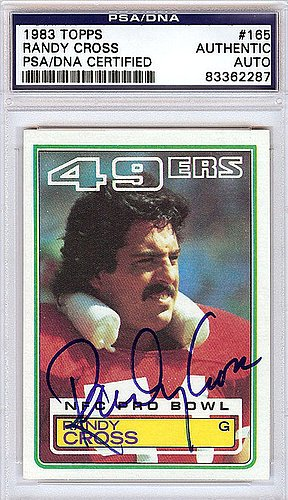 Randy Cross (Randy Cross Signed 1983 Topps Trading Card - Certified Genuine Autograph By PSA/DNA - Autographed NFL Signature)