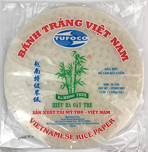 (Tufoco Bamboo Tree Spring Roll Rice Paper Wrappers, 22cm (3 Packs))
