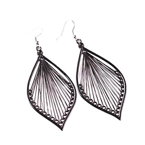 Price comparison product image Elogoog Women's Girls Elegant Jewellery Bohemia Ethnic Ellipse Dangle Stud Earrings Eardrop (Black)