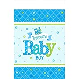 Amscan Charming Welcome Little One Boy Paper Table Cover Baby Shower Party Supplies, 54 x 102, Blue/White/Green