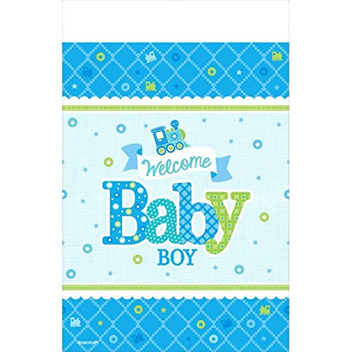 Amscan Charming Welcome Little One Boy Paper Table Cover Baby Shower Party Supplies, 54 x 102, Blue/White/Green by Amscan