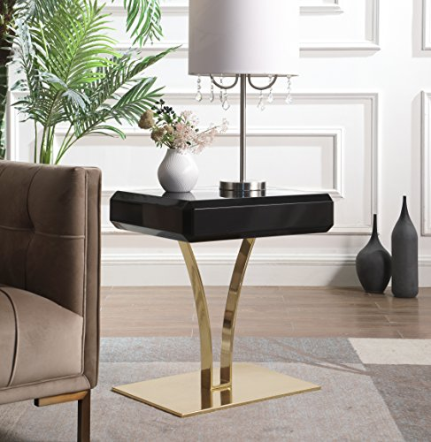 Iconic Home Rochelle Nightstand Side Table with Self Closing Drawer Gold Plate Metal Stem Base, Modern Contemporary, Black