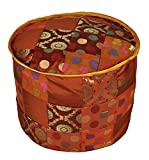 Lalhaveli Ethnic Elegant Designer Decorative Silk Ottoman Cover 17 X 17 X 13 Inches