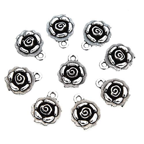(Monrocco 50pcs Strong Rose Charms Pendants Antique Silver Craft Supplies Tibetan Accessories for DIY Crafting Bracelet Necklace Jewelry Making Accessories)