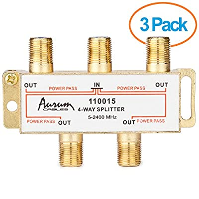 Aurum Cables 4-way Coax Cable Splitter F-type for Video VCR Cable Tv Antenna- Frequency Range 5-2400 Mhz 3-pack