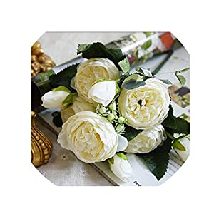 crystal004 2018 Silk Rose Peony Artificial Flowers Beautiful Bouquet for Wedding Party Home Decoration Fake Flowers A49B25,A49-3 13