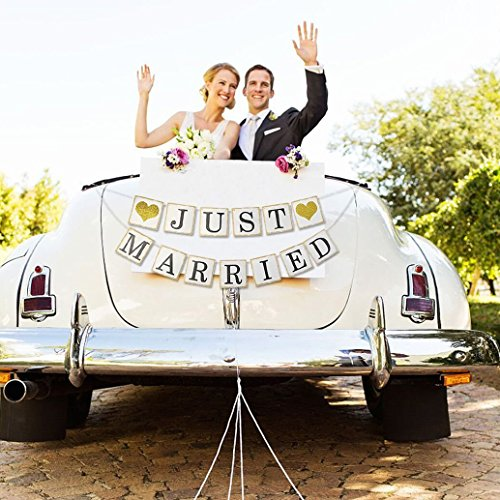 (Just Married Banner Sign - Wedding Bridal Shower Bachelorette Party Decorations - Wedding Car Decorations - NO DIY Required)