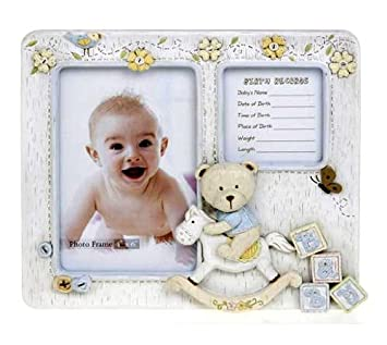 Amazoncom Baby Boy Bear Birth Record Frame 4x6 Ceramic Ideal
