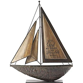 Dicksons with God All Things Possible Brown 16 x 14 Metal and Resin Stone Table Top Sailboat Figurine