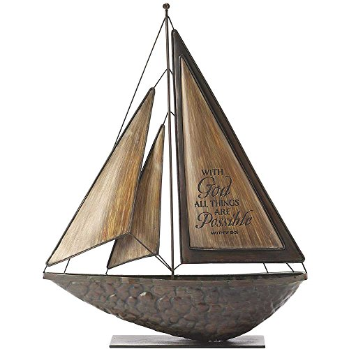 With God All Things Possible Brown 16 x 14 Metal and Resin Stone Table Top Sailboat Figurine