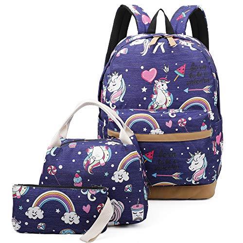 Girls School Backpack Unicorn Teens Bookbag Set Kids bag School Laptop Backpack with Lunch Box Purse (Deep Blue)