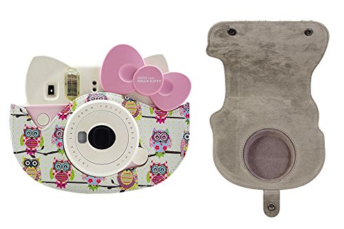 f952f1f21741 Katia PU Leather Instant Camera Case Bag with Strap and Pocket for Fujifilm  Instax Hello Kitty Instant Film Camera (White)