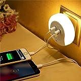 JERN LED Night Light Sensor 2 USB Charging Socket