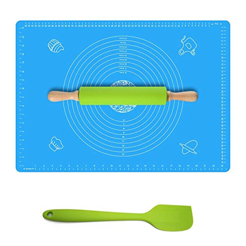 Ganoteck Non-Stick Silicone Rolling Pin &X-Large Silicone Pastry Mat